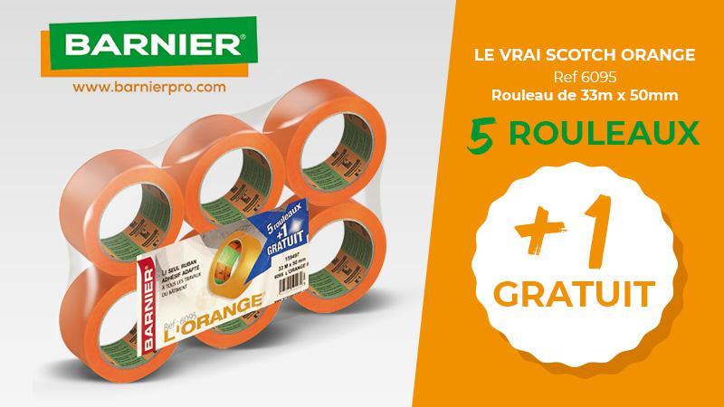 Promotion rouleau de scotch orange BARNIER, 5 + 1 gratuit