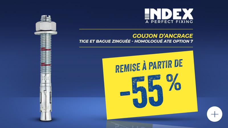 Promotion Goujon d'ancrage - Tige et Bague zinguée - Homologué ATE Option 7 INDEX