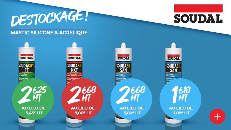 Promotion mastic siliconne transparent & acrylique blanc SOUDAL